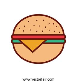 burguer with cheese on a white background