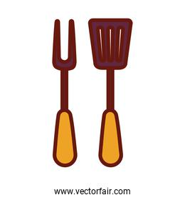 fork and spatula on a white background