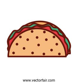 taco with vegetables on a white background