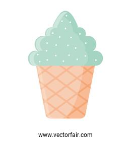 ice cream with a green color in a cone with sprinkles