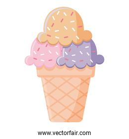 ice cream with three balls of purple, pink and orange color with sprinkles on the top in a cone