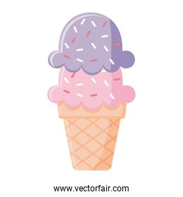 gelato with two balls of a pink and purple color in a cone