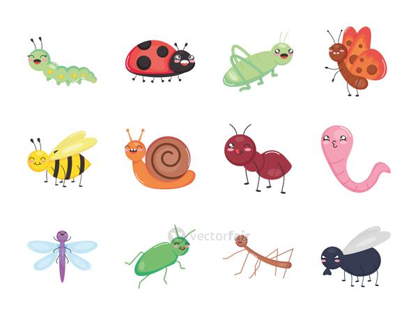 icon set of cute insects, colorful design
