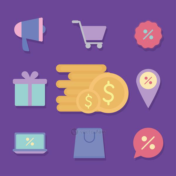 set of sale icons on a purple background