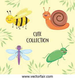 cute insects collection and leaves around, colorful design
