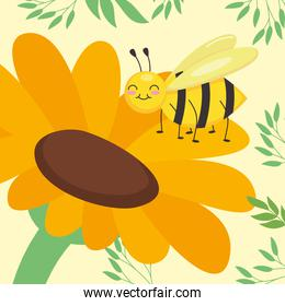cute bee on a sunflower and leaves around, colorful design
