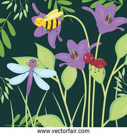 cute insects standing on purple lilies and leaves, colorful design