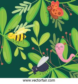 green leaves with cute insects, colorful design