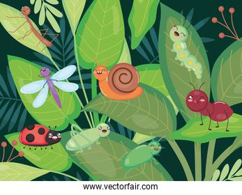 cute insects standing on leaves, colorful design