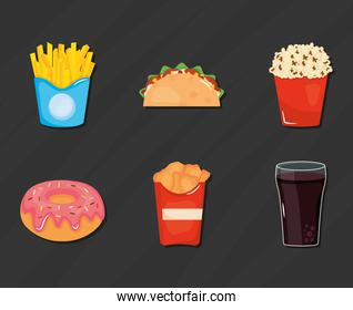 fast food collection, colorful design