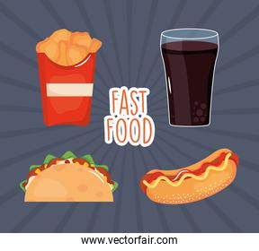 fast food design with mexican taco and related icons, colorful design