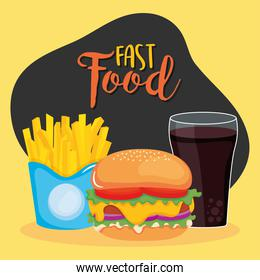 fast food concept, hamburger with french fries and soft drink, colorful design