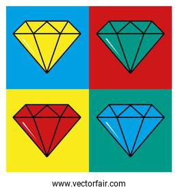 pop art colored four diamonds in frames vector design