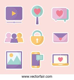 set of social media icons on a pink background
