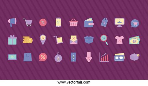 bundle of sale icons over a purple background