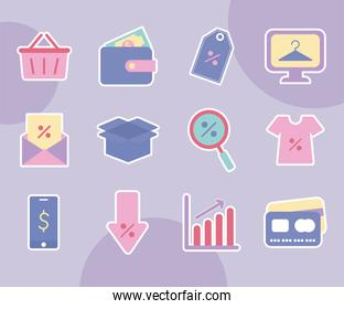 set of sale icons over a purple background
