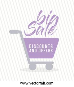 shopping cart of a purple color with big sale dicounts and offers