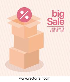 bundle of boxes with big sale dicounts and offers