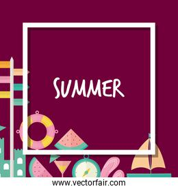 frame of summer icons with summer lettering