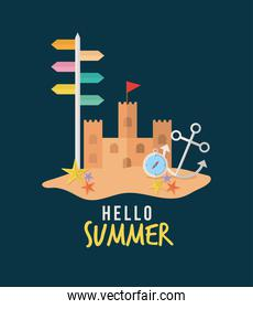 hello summer lettering with set of summer icons in a blue background