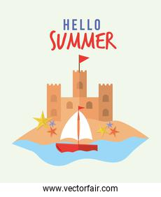 hello summer lettering with set of summer icons in a white background
