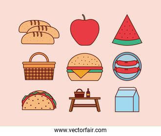 set of picnic icons on a pink background
