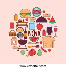 set of picnic icons and picnic lettering on a pink background
