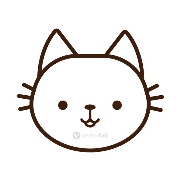 cute little cat kawaii animal line style