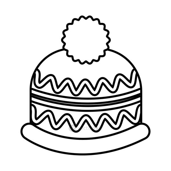 happy merry christmas hat line style icon