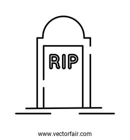 cemetery tomb with rip word line style icon