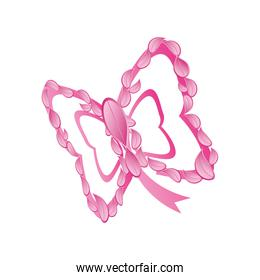 pink ribbon butterfly shaped, badge, breast cancer awareness