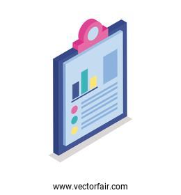 Bars chart in checklist isometric line style icon vector design