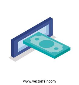 bill in atm hole isometric line style icon vector design