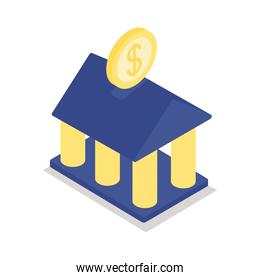 bank building isometric line style icon vector design