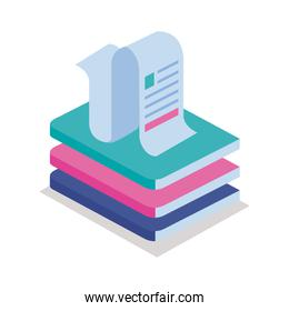 paper receipt with books isometric style icon