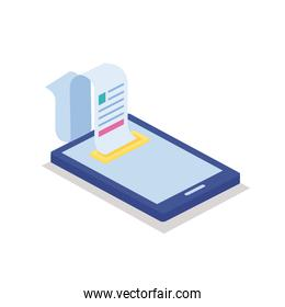 smartphone with paper receipt isometric style