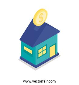 home wtih coin investment isometric style icon