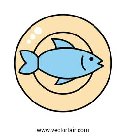 dish with fish seafood line and fill style icon