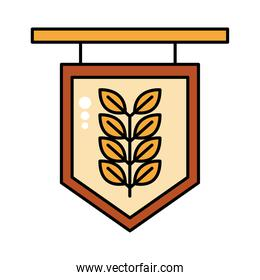 label with barley branch oktoberfest line and fill style icon