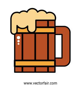 wooden beer jar drink line and fill icon