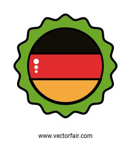 beer cap with germany flag line and fill style icon
