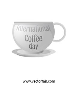 international coffee day label with cup of coffee on white background
