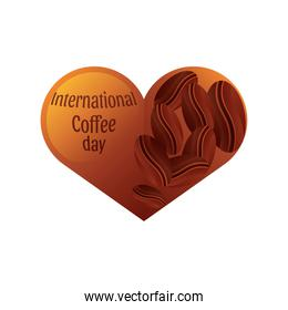 happy international coffee day label on a heart and coffee beans