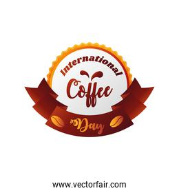 international coffee day label with decorative ribbon