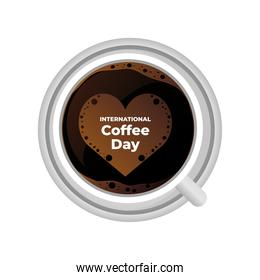 international coffee day label with cup of coffee and a heart