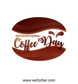 international coffee day label with coffee bean
