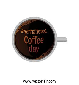 international coffee day label with cup of coffee