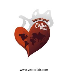 international coffee day label, coffee beverage is loved all over the world