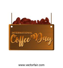 international coffee day label with coffee grains