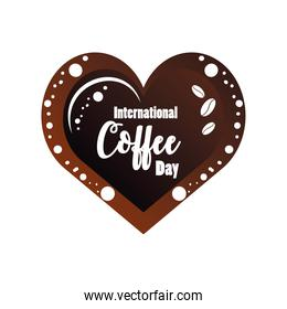international coffee day label with a heart